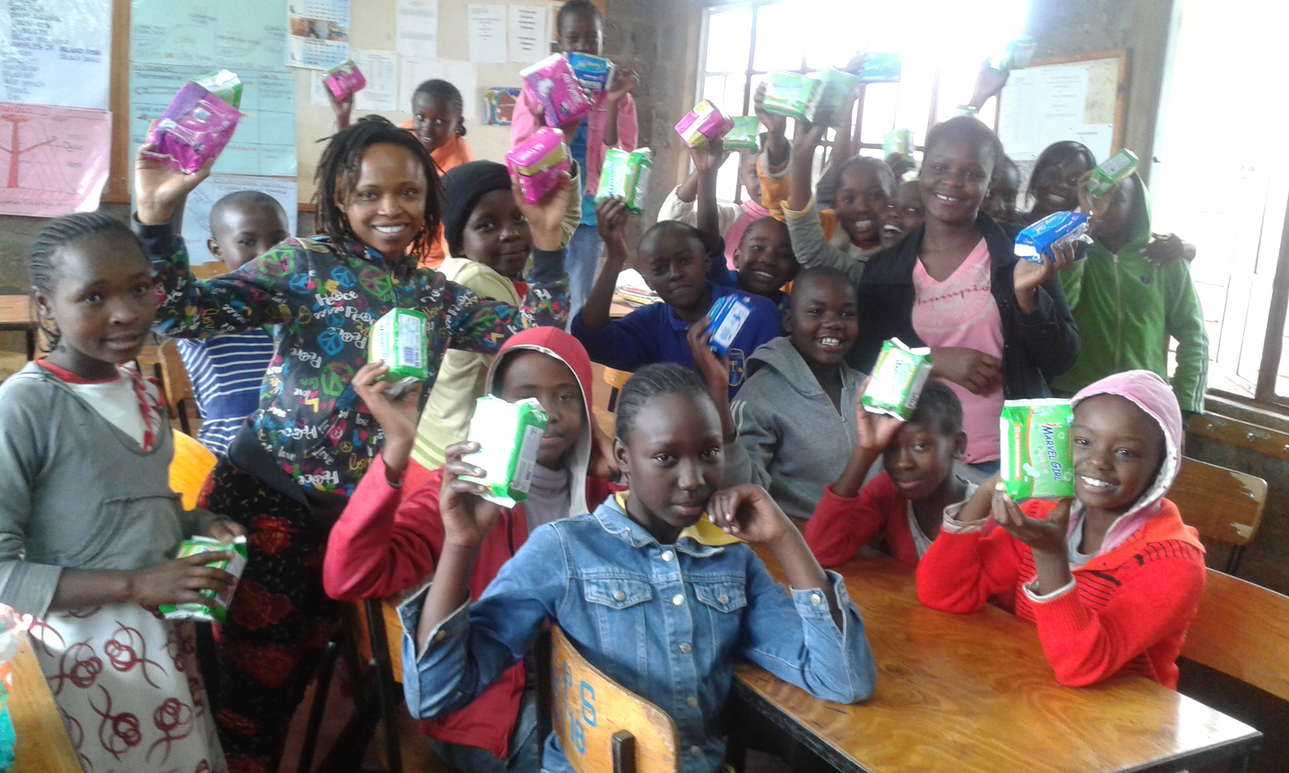 A section of the beneficiaries of the sanitary towels issued by GIrl Smile Initiative