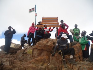 Students of Dedan Kimathi University at Mt Kenya during the 1st Edition of Climb To Educate