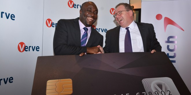 Verve International Chief Executive Officer Charles Ifedi (L). He said Verve's commitment and drive is to always go the extra mile to satisfy its customers in Africa. [Photo: Kamau Ngunyi]