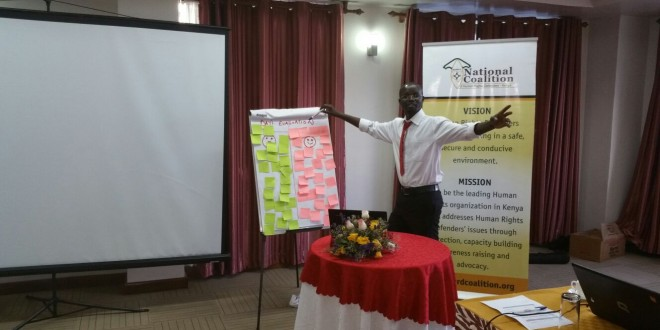 Kimutai Birech from NCHRD-K explaining a point to participants on how to monitor and document human rights violations. [Photo:  Wema Fadhili]