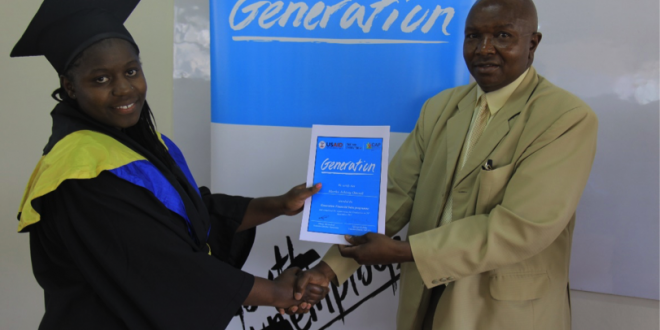 Prof Wilson O. Ogolla, chairman of TVET, handing out a certificate to a Generation graduate. [Photo: McKinsey Social Initiative]