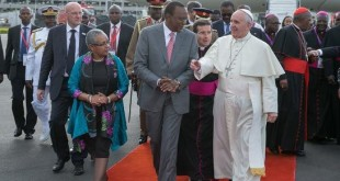 Pope Francis on his arrival at JKIA for a three day visit to Kenya.