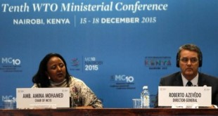 Foreign Affairs CS Amina Mohammed (L) with WTO's DG Roberto Azevedo during the 10th WTO Conference in Nairobi in December.  The Conference registered mixed reactions from different quarters. [Photo: WTO Secretariat]