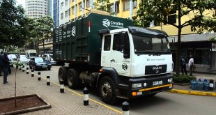 One of the garbage trucks operating in Nairobi. The city is however becoming one big  dump site. [Photo: YouTube]