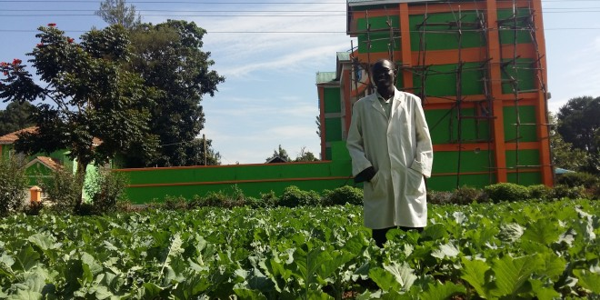 Musombi on his farm. He is able to cater for his needs from this plot. [Photo: Njenga Hakeenah]
