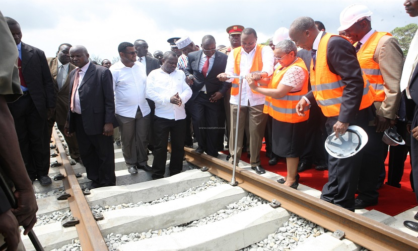 President Uhuru Kenyatta during the launch of the SGR Project. He has been asked to consider re-routing the railway line. [Photo: kenyanews247.com]