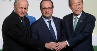 From left, France Foreign affairs minister Laurent Fabius, France President Fracois Hollande, United Nations secretary general Ban Ki-moon at the COP21 talks. Photo courtesy of www.theguardian.com