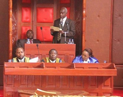Makueni Governor Kivutha Kibwana giving the State of the County address Photo:Governor's Press